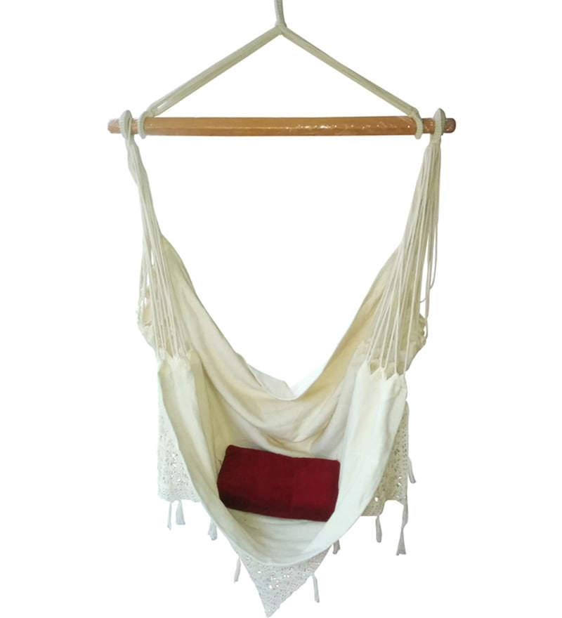 Natural Cotton Canvas Swing Chair with Crochet Border by Hang It