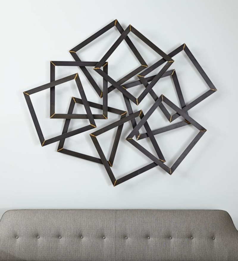 Natural Iron Metal 30 x 1 x 26 Inch 9 Squares Wall Art by Craftter