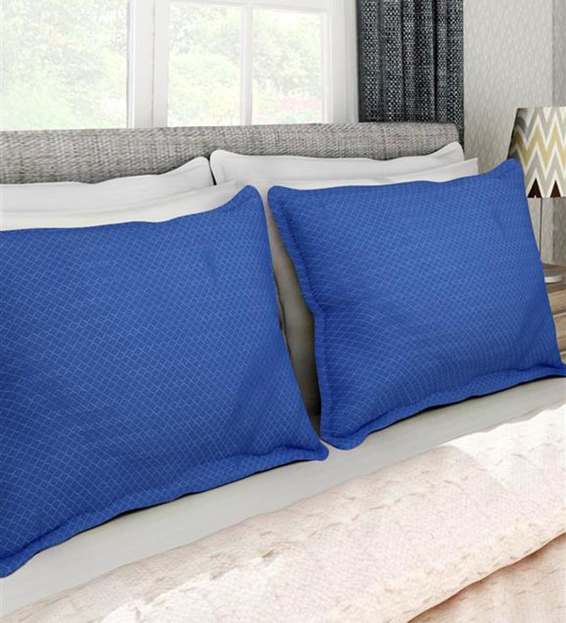 Navy Blue 100% Cotton 17 x 27 Inch Pillow Cover - Set of 2 by Soumya