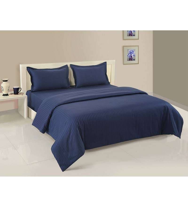 Navy Blue Cotton King Size Bedding Set - Set of 4 by Swayam