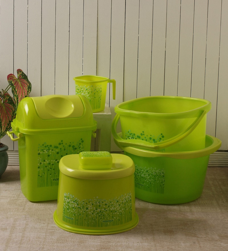 Nayasa Plastic Green Funk Bucket - Set of 6