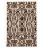 The Rug Republic Taupe and Black Wool 91 x 63 Inch Indian Ethnic Area Rug