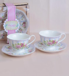 Nestroots Extremely Pretty & Elegant Cups & Saucers White Porcelain - Set Of 4