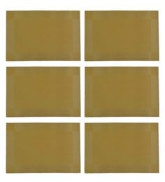 Nestroots Self Woven Dining Washable Gold Pvc Placemats - Set Of 6