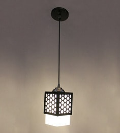 Square Grid Brown Mdf & Glass Pendant