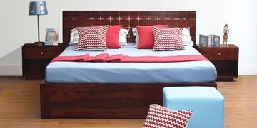 New Tosca Queen Size Bed With Storage In Red Honey Finish
