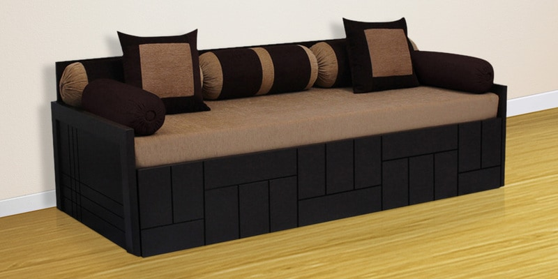 Libford Sofa Bed With 2 Pillows 5 Bolsters In Brown Color By Auious Home