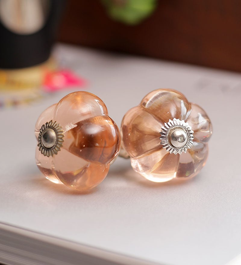 Neerja Pink Glass Melon-Shaped Door Knob - Set Of 6