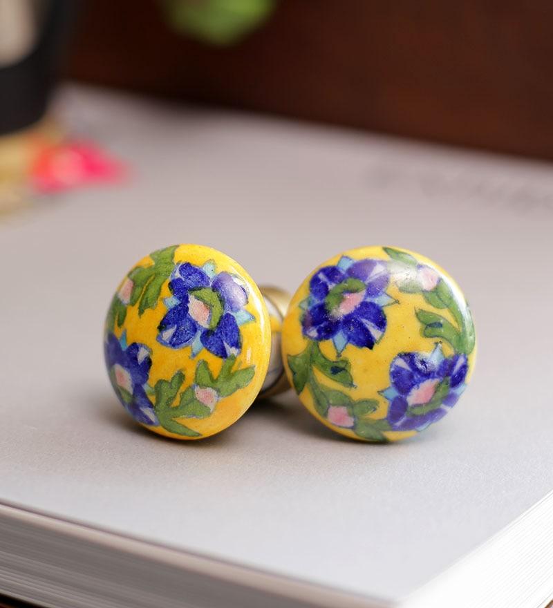Neerja Multicolour Ceramic Flowers & Leaves Door Knob - Set Of 6