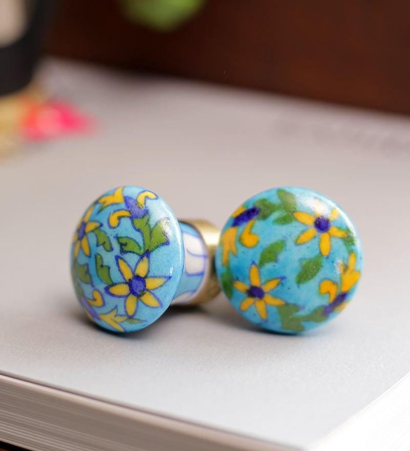 Neerja Turquoise Ceramic Flowers & Leaves Door Knob - Set Of 6