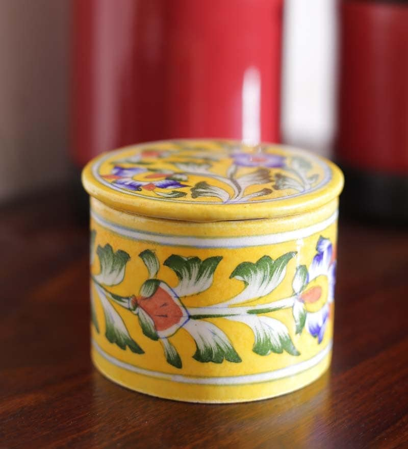 Pottery Multicolour Ceramic Round Box - Set of 2 by Neerja