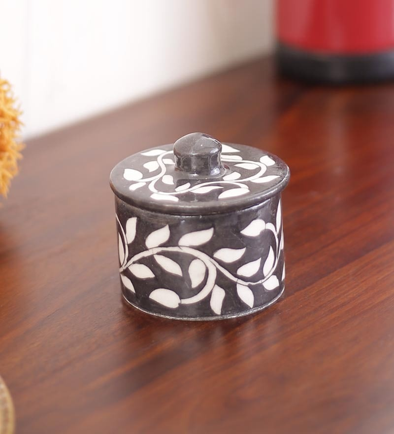 Pottery Black & White Ceramic Round Box by Neerja