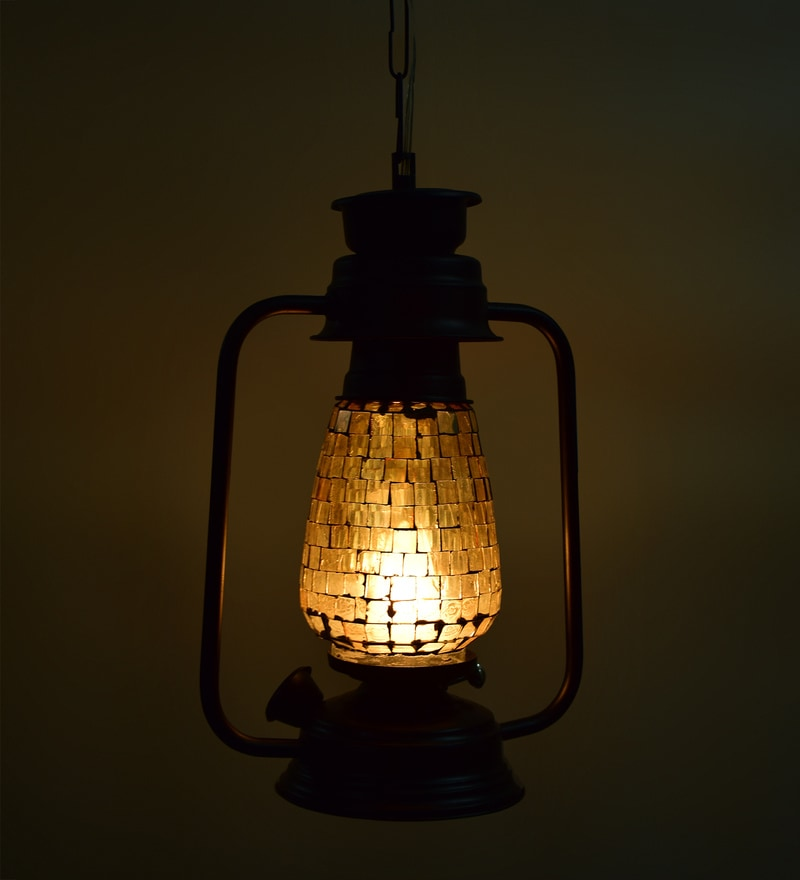 Beige Glass Diwali Lantern By New Era