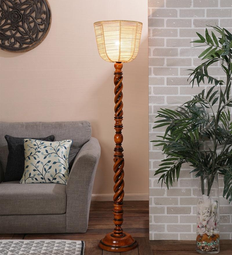 Brown Bamboo Floor Lamp by New Era