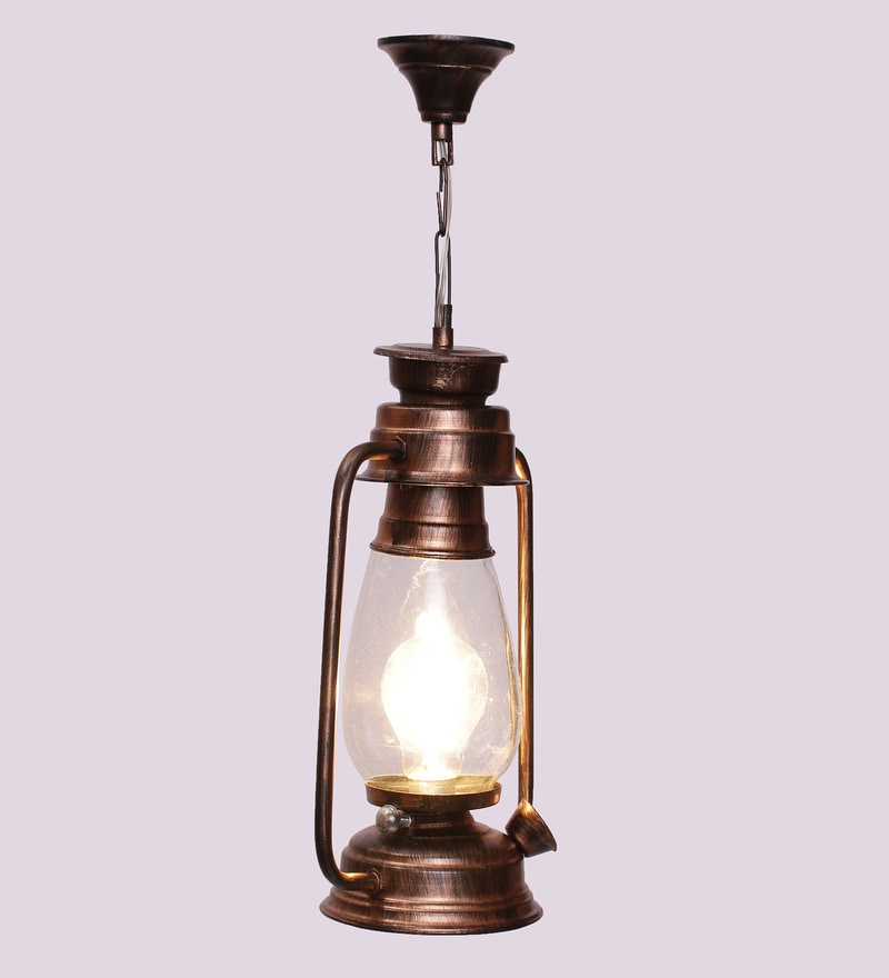 Clear Glass Copper Finish Hanging Diwali Lantern by New Era