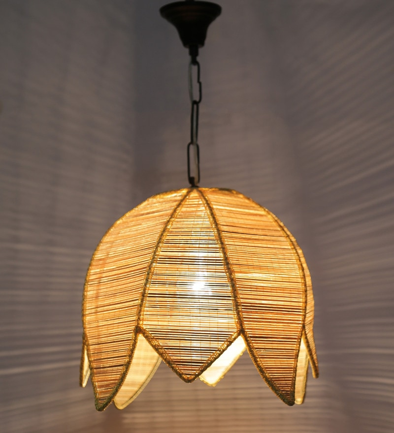 Lotus Shaped Vintage Bamboo Hanging Lamp by New Era