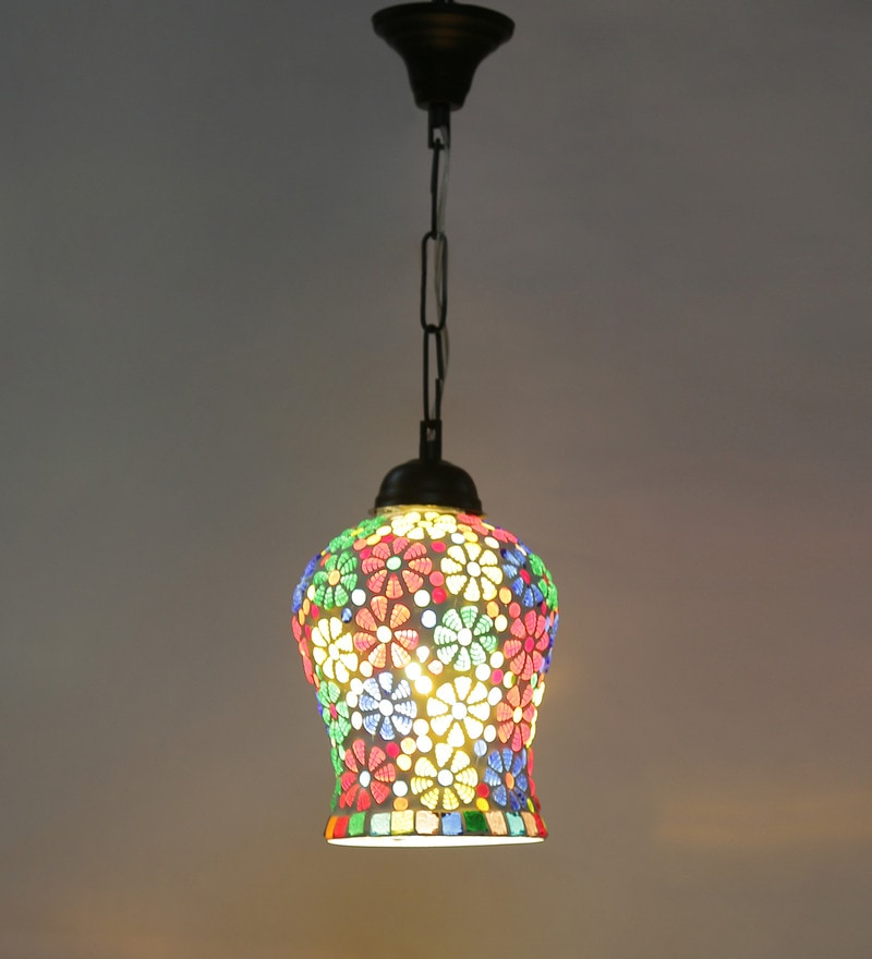 Multicolour Metal & Glass 40W 7 x 4.5 x 21 Inch Hanging Lamp by New Era