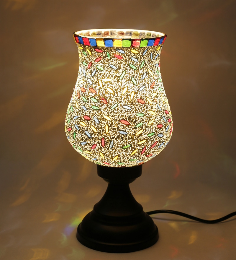 Multicolour Metal & Glass Table Lamp by New Era