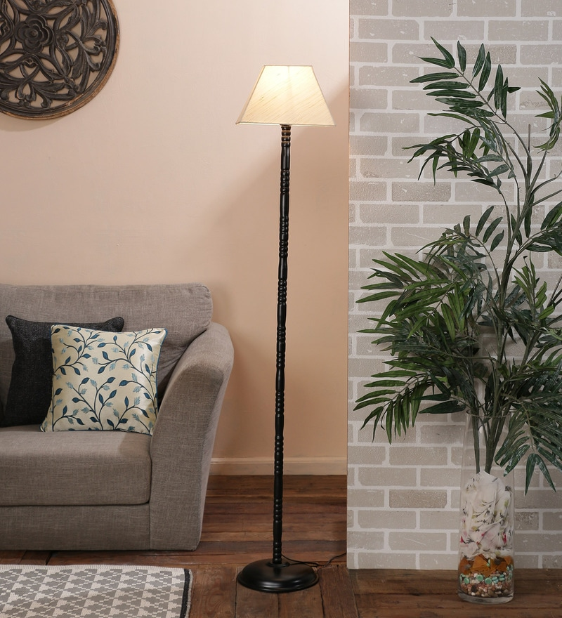 Off White Cotton Floor Lamp by New Era