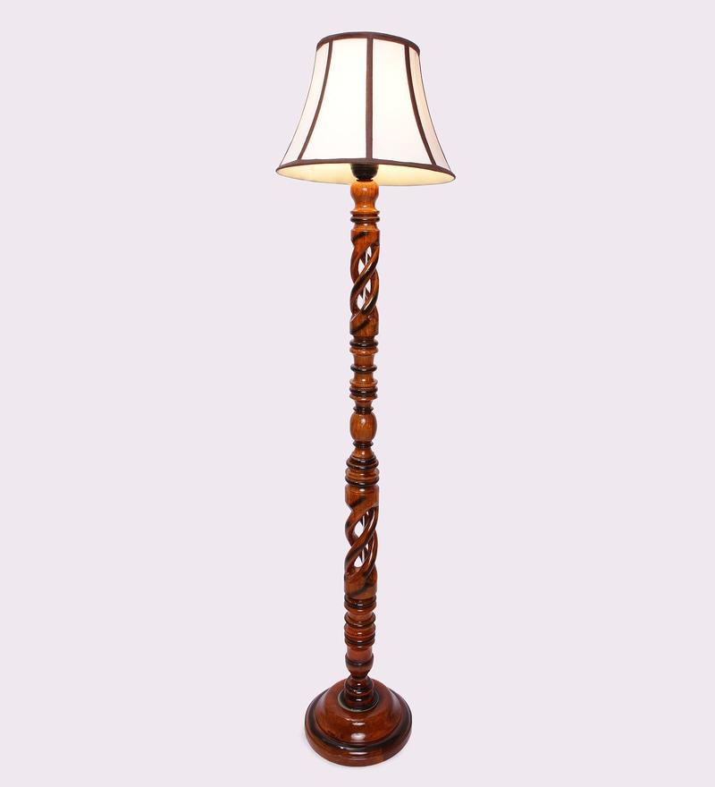 Multicolour Wooden 14 x 14 x 59 Inch Floor Lamp by New Era