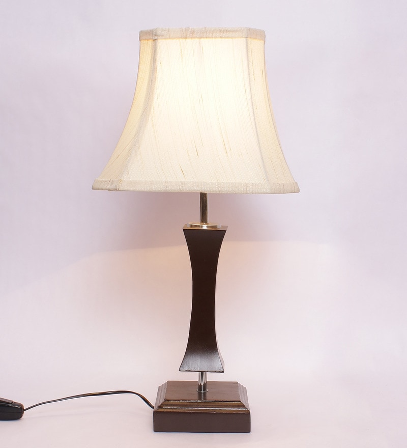 Off-white Wooden & Cotton Table Lamp by New Era
