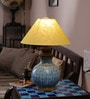 Neerja Blue Pottery Blue, White, & Yellow Ceramic Matka Lamp Base