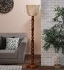 New Era Brown Cotton Floor Lamp