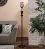 White and Gold Glass Floor Lamp by New Era