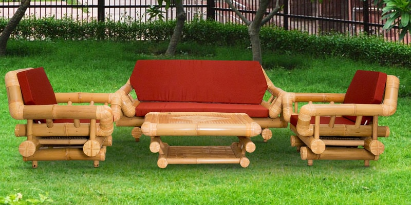 Nguyen Bamboo Five Seater Patio Set with Center Table in Natural by Indigrass
