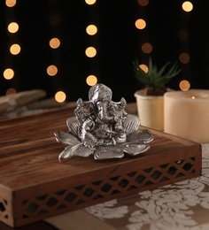 Ni Decor Silver Metal & Glass Ganpati On Flower