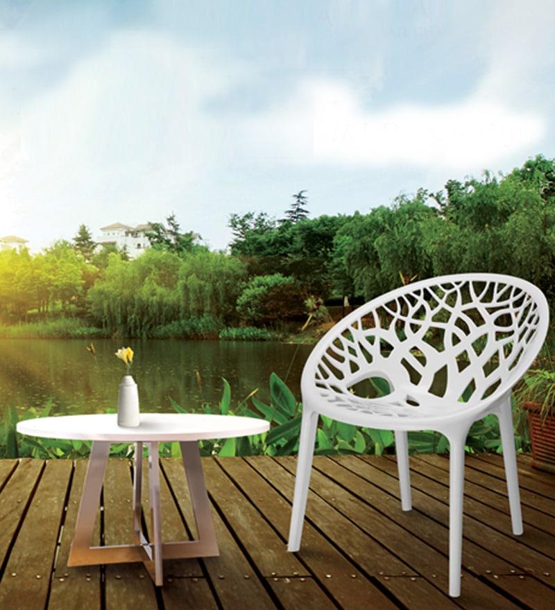 Nilkamal Crystal Milky White Visitors Chair By Nilkamal
