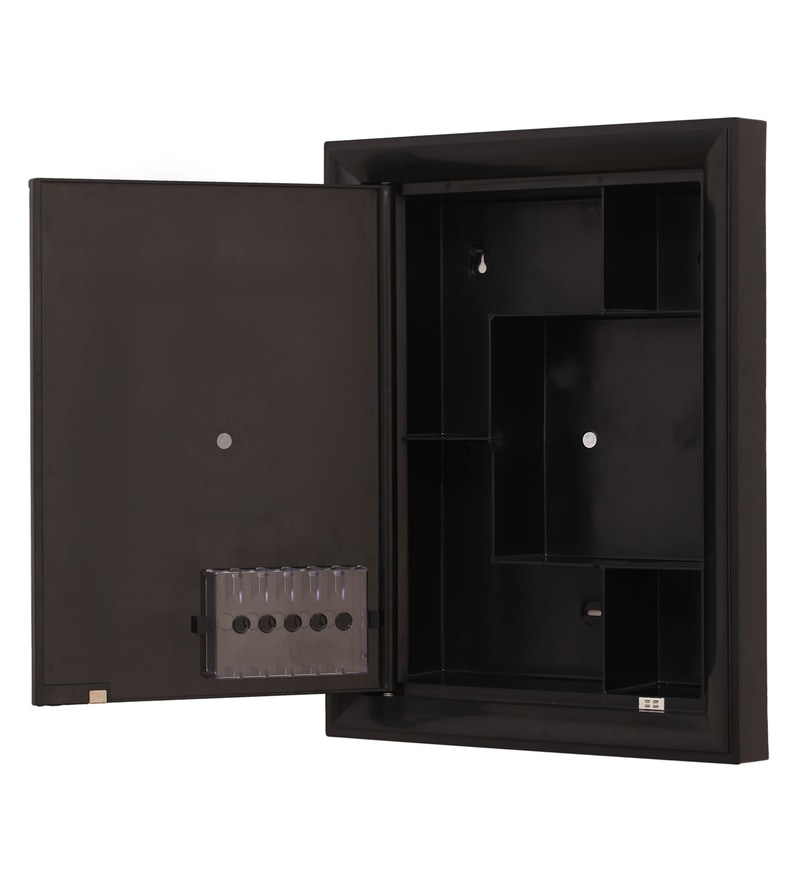 Buy Plastic Black 6 Compartment Bathroom Cabinet With