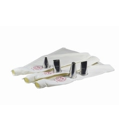 Noor White & Silver Cotton & Stainless Steel 3 Reusable Cake Decoration Icing Bag With 4 Jumbo Nozzles - Set Of 7 - 1622692