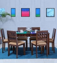 Norman Six Seater Cushioned Dining Set In Provincial Teak Finish