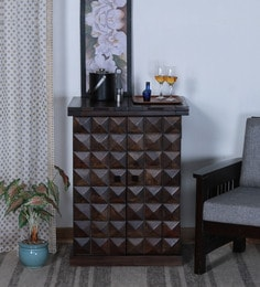 Norman Small Bar Cabinet In Warm Chestnut Finish
