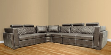 Nova Corner Sectional Sofa with Lounger with Leatherette Upholstery by Star India at pepperfry