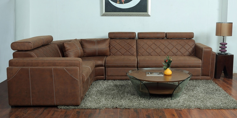 Nova Corner Sectional Sofa With Lounger Leatherette Upholstery By Star India