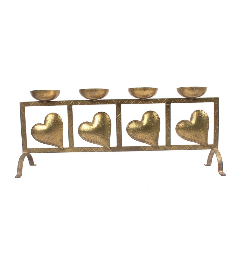 Noble Gold Iron Single Candle Holder - Set of 4