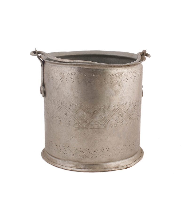 Silver Iron Cylindrical Planter by NOBLE