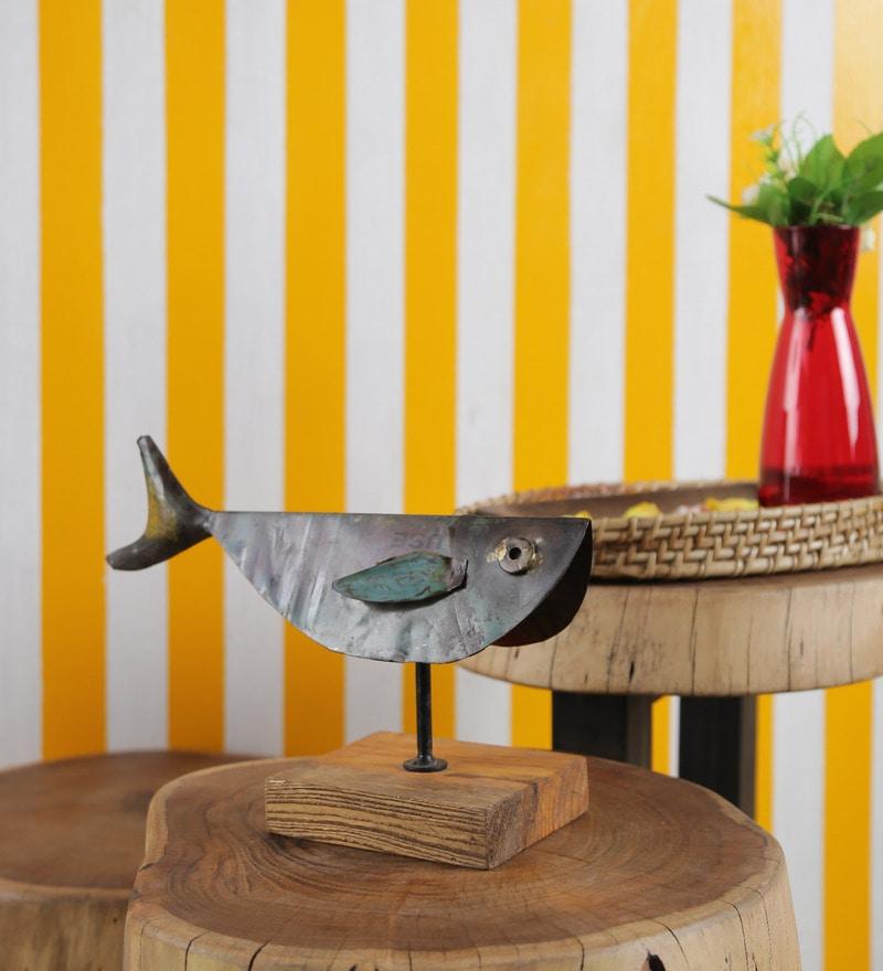 Noble Blue & Wenge Wood & Iron Fish Showpiece