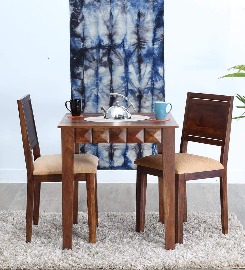 Norman Two Seater Cushioned Dining Set in Provincial Teak Finish by Woodsworth