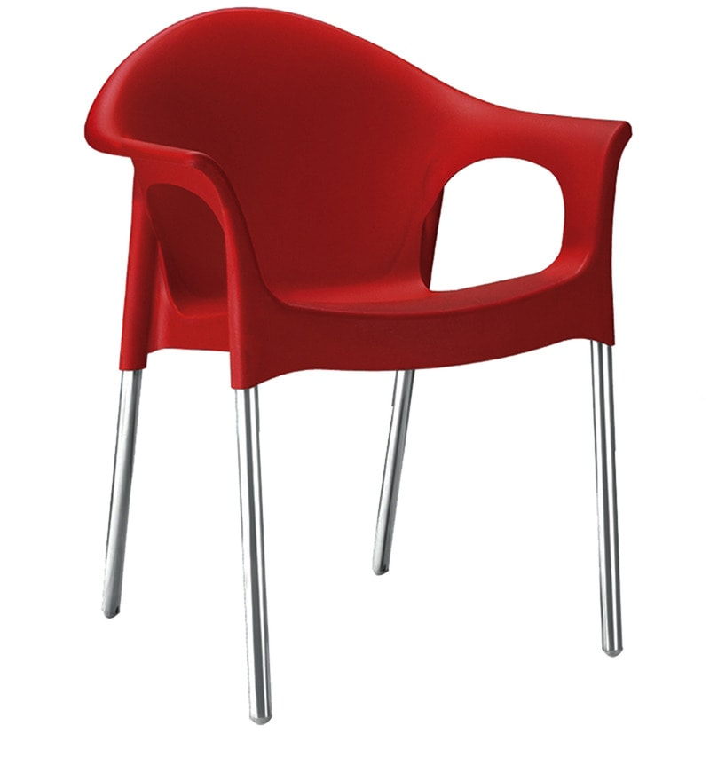 Novella Visiter Chair With Arms in Red Colour by Nilkamal