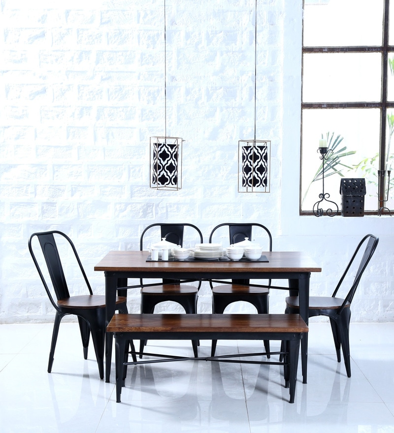 Novo Six Seater Dining Set With Bench In Black Color By Bohemiana
