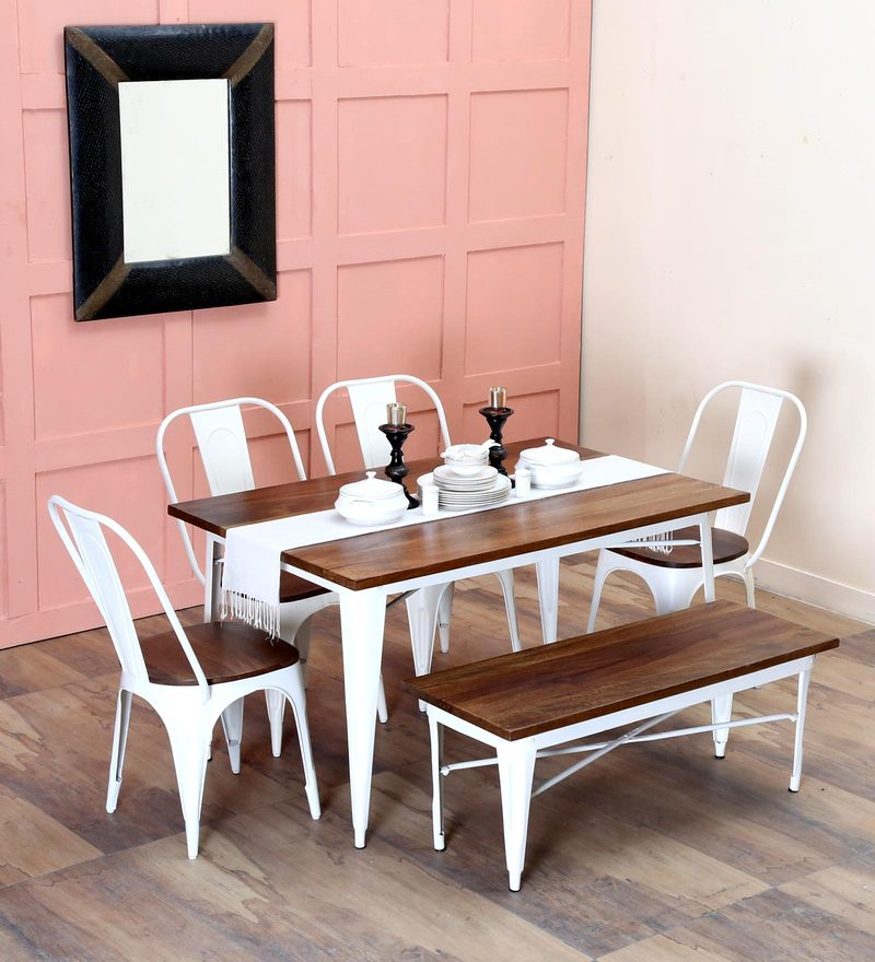 Buy Novo Six Seater Dining set with Bench in White Color by ...