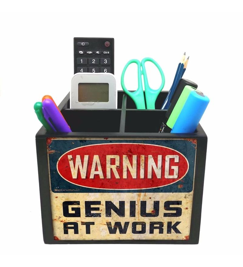 Nutcase 4 Slot Warning Wood Desktop Storage Holder Stand