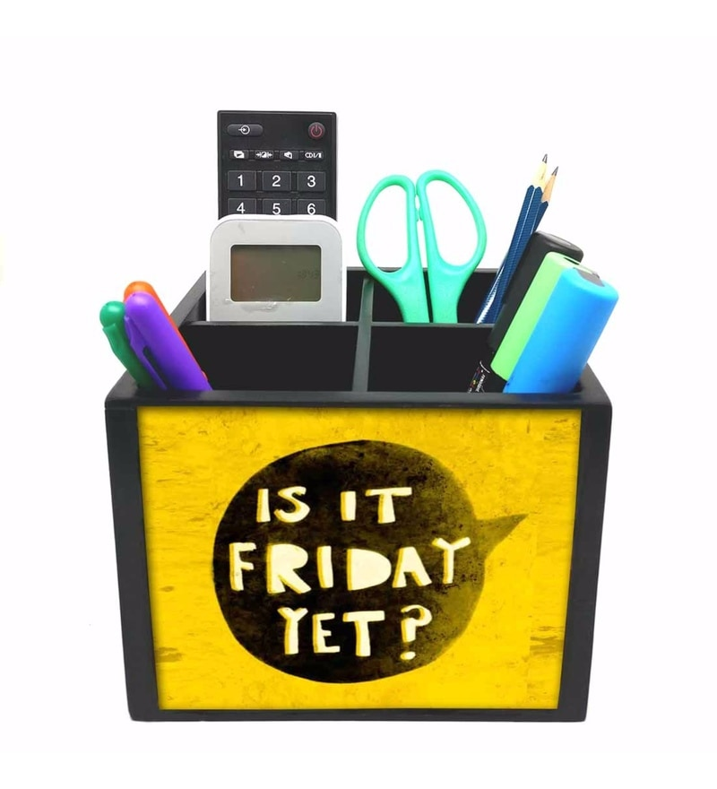 Nutcase 4 Slot Yellow Color Is It Friday Yet Wood Desktop Storage Holder Stand