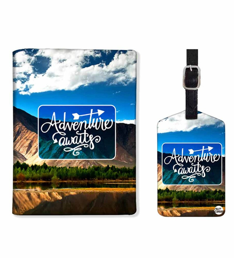 Nutcase Adventure Awaits PU Leather Passport Holder & Luggage Tag