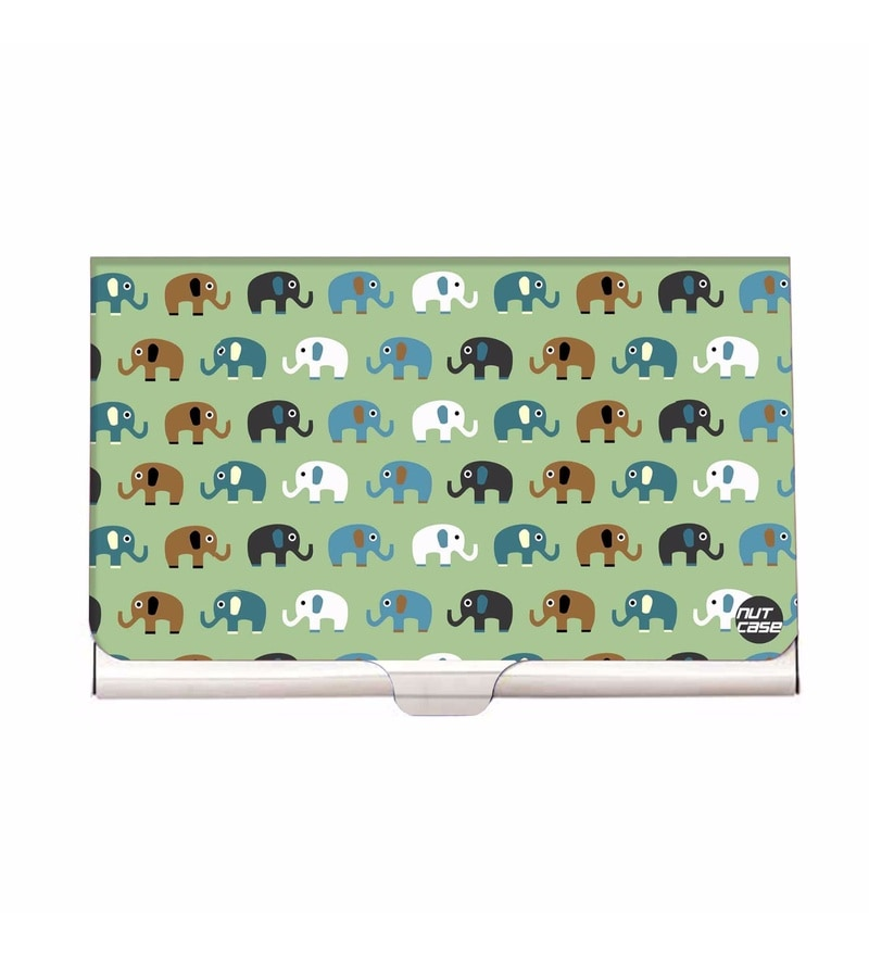 Nutcase Elephant Green Stainless Steel Visiting Card Holder