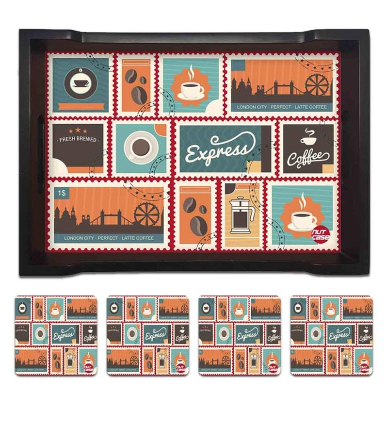 Nutcase London City Coffee Pine Wood Tray with 4 Coasters