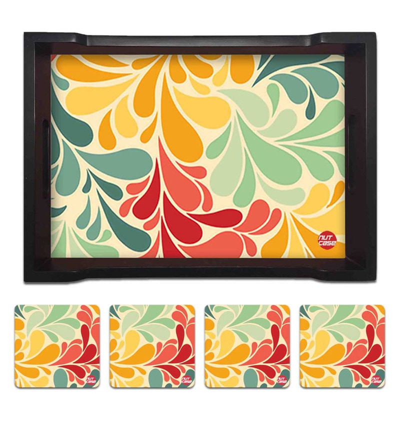 Nutcase Retro Flowers Pine Wood Tray with 4 Coasters